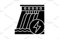 Hydroelectric dam glyph icon by Icons Factory on Water Energy, Web Design Software, Glyph Icon, Negative Space, Glyphs, Icon Design, Symbols, Illustration, Icons