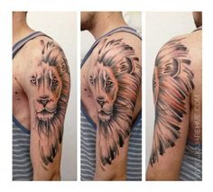 Half Lion Mane Realistic tattoo by Julia Rehme Elegant Tattoos, Trendy Tattoos, Tattoos For Guys, Cool Tattoos, 27 Tattoo, Cover Tattoo, Tattoo Fonts, Lion Tattoo Design, Tattoo Designs