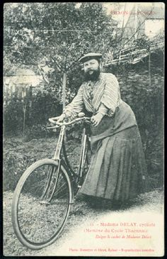"""Madame Delait, cycliste, """"Mme. DELAIT – 28 DEC 1906 – THAON-Vosges"""", a photograph of the French bearded lady Madame Delait, which declares her to be a member of a bicycling club, Cycle Thaonnais. Was this an unusual pastime for a French lady of the time? I know not, but perhaps it was all the more unusual for a lady bicyclist to have a beard."""