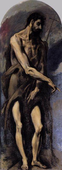 El Greco St John the Baptist , 1577 - 1579 Oil on canvas 212 x 78 cm Spanish Painters, Spanish Artists, Hieronymus Bosch, Religious Paintings, Religious Art, Web Gallery Of Art, Biblical Art, Catholic Art, Catholic Saints