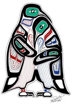 Penguin Love is a traditionally drawn figure but not within the Tsimshian culture. I love that the artist went away from the traditional eagle, killer whale, etc animals.