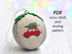 This listing is for a digital Christmas cross stitch and sewing pattern on making a cross stitch Christmas ornament, NOT the finished product. The finished cross stitch bauble shown in the photos is for demonstration purposes only. Cross Stitch Christmas Ornaments, First Christmas Ornament, Christmas Embroidery, Christmas Tree, Christmas Cross Stitch Patterns, Victorian Christmas, Father Christmas, Christmas Photos, Cross Stitching