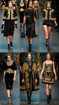 Dolce and Gabbana Fall 2012 Collection. Love the gold frame-inspired caplets! Haute Couture Style, Couture Mode, Couture Fashion, Runway Fashion, Womens Fashion, World Of Fashion, High Fashion, Fashion Show, Fashion Design