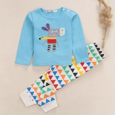 Baby Clothing Suit Donkey Pattern Cute Baby Boy Girl Cotton Tops Romper Pants 2Pcs Outfits
