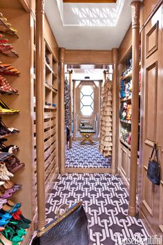 """""""The skylight in my closet provides amazing natural light. I collect vintage pieces, and keeping it all organized is key. My jewelry is in shallow, fabric-lined drawers so I can see everything easily."""" —Kelly Wearstler, Interior Designer"""