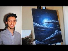 How to paint a Stars, a Moon, and Clouds in a night sky. A basic speed painting tutorial - YouTube