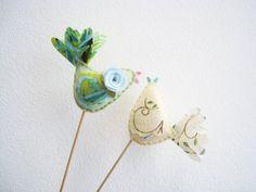 Bird Wedding Cake Toppers in Cream Pale Green Wool Felt