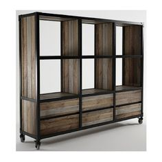 This. But no wheels, and different height shelves as a divider for a studio apartment. Probably smaller width as well.