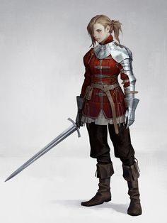 f Ranger Med Armor Sword Gambeson by dongho Kang ReasonableFantasy lg Inspiration Drawing, Fantasy Inspiration, Character Design Inspiration, Dnd Characters, Fantasy Characters, Female Characters, Armadura Medieval, Female Armor, Female Knight