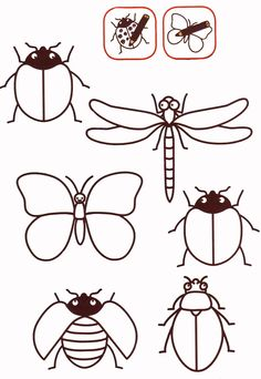 Bug template to color Beaded Embroidery, Embroidery Patterns, Hand Embroidery, Art For Kids, Crafts For Kids, Arts And Crafts, Bug Crafts, Insect Art, Bugs And Insects