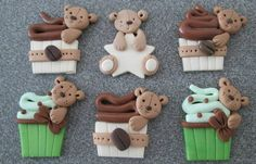 Fimo card toppers teddy bears cup cakes coffee beans and ice cream