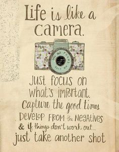Birthday Quotes : This 'Life is Like a Camera' Wall Art is perfect! - The Love Quotes Great Quotes, Me Quotes, Motivational Quotes, Inspirational Quotes, Wall Quotes, The Words, Positive Thoughts, Positive Quotes, Life Is Like