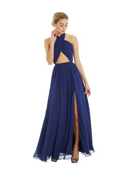 Long, cross over, cutout prom dress in navy Wired Cross - Unique Evening Dresses, Prom Dresses, Homecoming Dresses - Fame & Partners