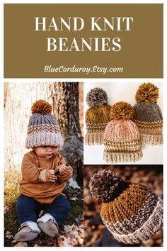 Pom Pom Beanie hats for winter! Adult, kid, and baby sizes. Hand knit and perfect for winter syle. Bluecorduroy.etsy.com #knitbeanie #wintergifts #boyhat #stripedbeanie #pompombeanie #winterstyle Pom Pom Beanie Hat, Knit Beanie, Beanie Hats, Beanies, Baby Hats Knitting, Hand Knitting, Knitted Hats, Baby Sun Hat, Baby Girl Hats