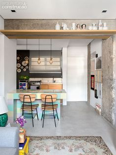 open kitchen | love the colors #decor #cozinhas