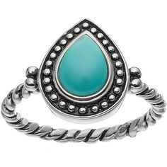 Sterling Silver Simulated Turquoise Cabochon Ring (249.925 IDR) ❤ liked on Polyvore featuring jewelry, rings, blue, blue turquoise jewelry, pear shape ring, pear ring, vintage style rings and green turquoise ring