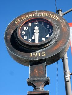 U284. 1915 Punxsutawney Street Clock, wonder what Pete makes of it? Groundhog Day! Love it!