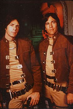 Brothers Zak & Apollo Adama in Battlestar Galactica the original series played by Ric Springfield & Richard Hatch Sci Fi Tv Shows, Old Tv Shows, Kampfstern Galactica, Richard Hatch, Battlestar Galactica 1978, Rick Springfield, Brothers In Arms, Classic Tv, Classic Series