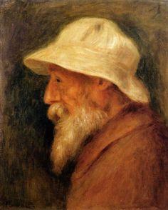 Self-Portrait with a White Hat, 1910 - Pierre-Auguste Renoir ( Пьер - Огюст Ренуар - Лимож — Pierre Auguste Renoir, Jean Renoir, Claude Monet, August Renoir, Renoir Paintings, Watercolor Paintings, Paul Cézanne, Impressionist Artists, Edgar Degas