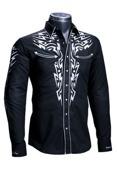 Dress up like a true cowboy with the Rafael Amaya Black Western Embroidered Shirt. You'll be feeling comfortable all day thanks to the 70% polyester and 30% cotton material with white western embroidery on the front and back yokes. The snap buttons along the front complete the look. Pair this with dark wash jeans and your favorite cowboy boots for a real country look! Western Shirts, Western Wear, Mens Fashion Blazer, Casual Outfits, Men Casual, Dark Men, Dark Wash Jeans, Jacket Style, My Style