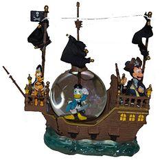 Disney Parks Snow Globe Black Pearl Pirate Ship Mickey, Donald & Pluto @ niftywarehouse.com