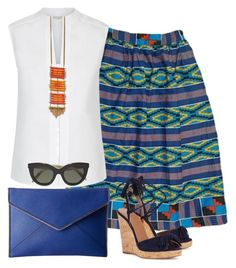 """Summer chic with Kente"" by sapellestyle ❤ liked on Polyvore featuring Hobbs, Aquazzura, Rebecca Minkoff and Victoria Beckham"