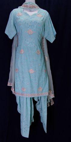 Light blue embroidered jacquard salwar kameez (XL)