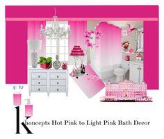 """khoncepts Hot Pink to Light Pink Bath Decor"" by khoncepts ❤ liked on Polyvore featuring interior, interiors, interior design, home, home decor, interior decorating, Croydex, Lalique, Waterford and Natasha Zinko"