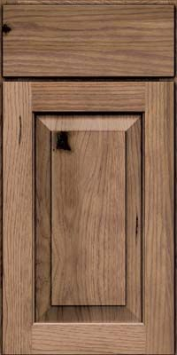 Door Detail - Square Raised Panel - Solid (DAH) Rustic Hickory in Natural - KraftMaid Cabinetry-Husk