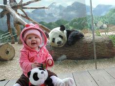 Panda virou hit ao sorrir para foto com bebê (Foto: Reprodução/Imgur/FreedomSTR)