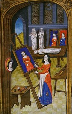 Unknown Artist from Giovanni Boccaccio, Des cléres et nobles femmes, Spencer Collection MS. 33, f. 37v, French, c. 1470 Artist in her Atelier