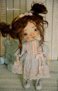 Купить Аксинья - голубой, текстильная кукла, кукла ручной работы, авторская ручная работа