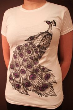 Peacock  print on T shirt  available in Women size M by juliakiss, $20.00