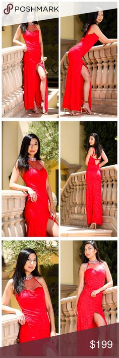Red hot elegance illusion neck lace gown Neckline: illusion neck. Fabrics: lace shield polyester lining sheer neckline slit in front beaded neck Atina Collection Dresses