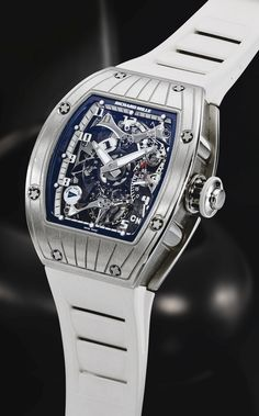 Richard Mille  A VERY FINE WHITE GOLD TONNEAU-FORM SEMI-SKELETONIZED DUAL TIME ZONE TOURBILLON WRISTWATCH WITH POWER RESERVE AND TORQUE INDICATION RM015 AG WG/22 TOURBILLON PERINI NAVI CIRCA 2007