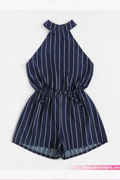 Drawstring Waist Open Back Striped Romper Source by martyh Outfits ve… - Kindermode 2020 Frocks For Girls, Dresses Kids Girl, Kids Outfits Girls, Cute Girl Outfits, Girls Fashion Clothes, Summer Fashion Outfits, Teenager Outfits, Cute Summer Outfits, Cute Casual Outfits