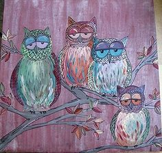 Family of owls, painting on wood panel