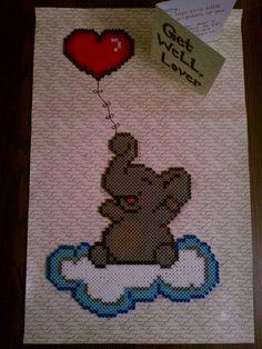 Happy elephant perler bead sprite by blackarach on deviantart Aww, so cute :)