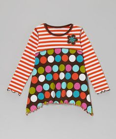 Another great find on #zulily! Orange Polka Dot Sidetail Tunic - Toddler & Girls #zulilyfinds