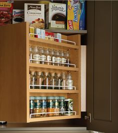 Great use of full depth cabinet near stovetop - spices are on swing out rack in front, with less used or refill spices tucked behind.