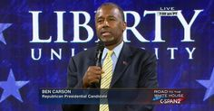 Republican presidential candidate Ben Carson delivers an address and takes questions at Liberty University's weekly convocation for students in Lynchburg, Virginia.