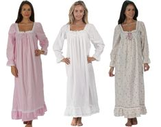 Martha: A high quality cotton long sleeve Victorian Style ladies nightdress. Our designer is Jacqui who lives in England and has spent many years researching beautiful and elegant ladies' nightwear. Womens Nighties, Victorian Fashion, Vintage Fashion, Peter Pan Costumes, Night Dress For Women, Bridesmaid Dresses, Wedding Dresses, Elegant Woman, Nightwear