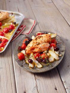 Hühnerbrust mit Fenchelgemüse vom Blech