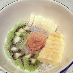 Chia Seed pudding with peanut butter and fruit! Healthy start to the day...