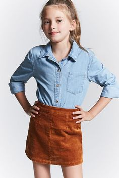 Forever 21 Girls - A chambray shirt featuring a basic collar, a button-front, chest pocket, and long buttoned sleeves.