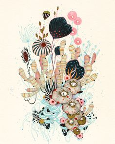 Pinned from website: DAYDREAM LILY. Illustration by Yellena James Portland, OR, United States. I love the fine line detail in this illustration. Art And Illustration, Illustrations, Doodle Drawing, Painting & Drawing, Painting Abstract, Coral Drawing, Inspiration Art, Art Inspo, Impression Grand Format