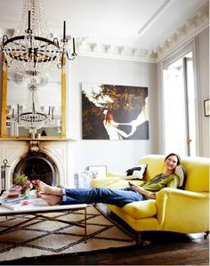 jenna lyons living design room design home design interior design 2012 decorating before and after Decor, Room, Home Living Room, Room Design, Sofa Inspiration, Family Room, Home, Color Inspiration, Yellow Sofa