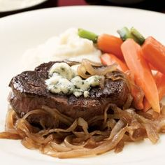 Seared Steaks with Caramelized Onions & Gorgonzola July 2014 - Sam loved this!!! I seared the steaks and then finished cooking in the oven to medium rare :)