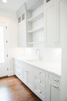 beautiful Light Gray Inset Cabinetry and White Subway Tile || Studio McGee