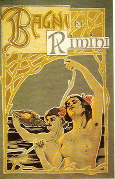 Bagni di Rimini, Riviera Adriatica (Italy) - Vintage travel beach poster art deco - liberty style (art nouveau)